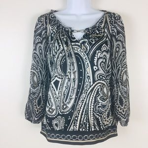 White House Black Market Cold Arm Blouse Womens 8